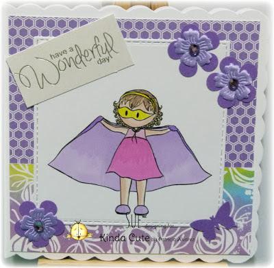 Superhero girl digital stamp