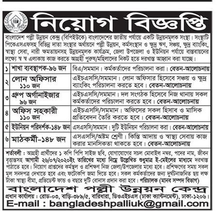আজকের নিয়োগ বিজ্ঞপ্তি ২০২০ - বাংলাদেশ প্রতিদিন পত্রিকা