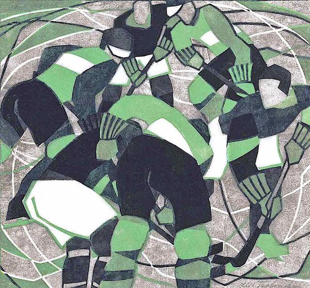 a Lill Tschudi linocut print of a hocky game