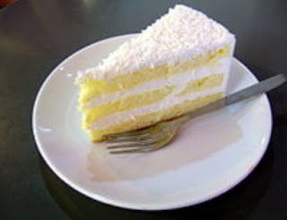 Slice of three Layered Coconut Cake