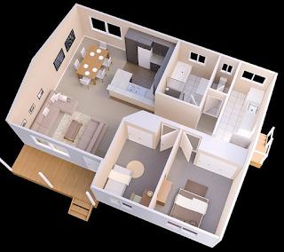 Model denah rumah minimalis 2 kamar 2017