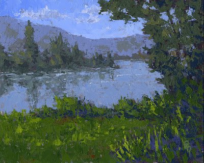 art painting palette knife lake mountain wilderness nature