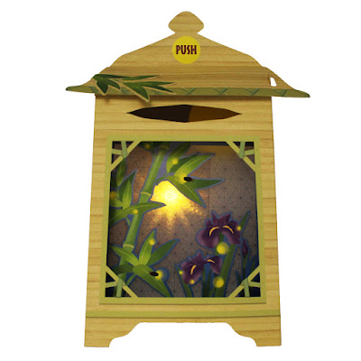 Bamboo Lantern Water Garden Lights and Melody Pop Up Card