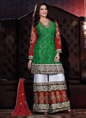 Stunning and beautiful sharara design mehndi dress.