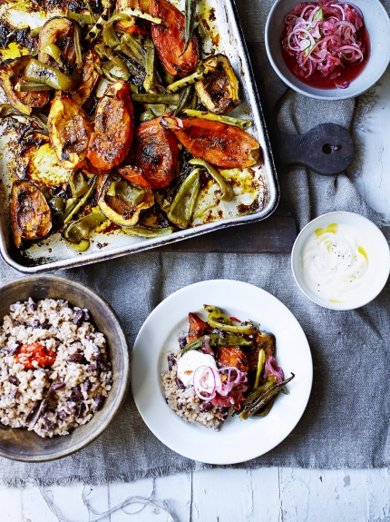 Rice & peas with jerk roasted veg