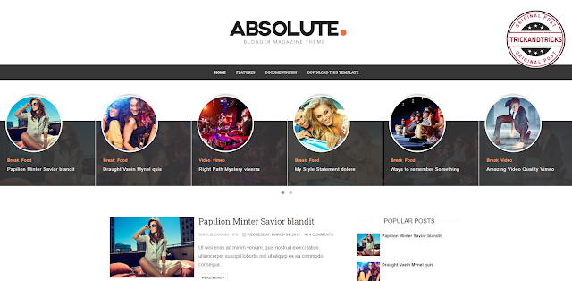 Absolute Premium Blogger Template 2020