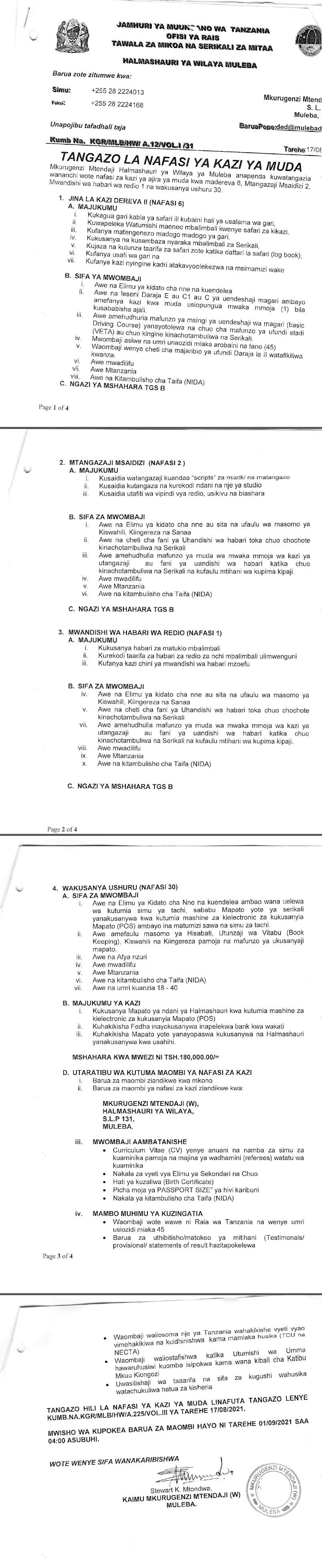 39 Various Jobs at Muleba District Council July 2021