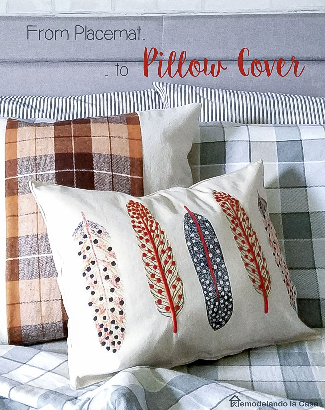 How to turn a placemat into a pillow cover