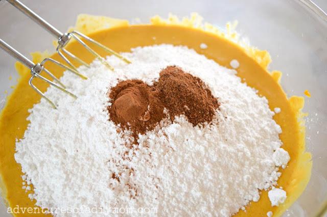 add powdered sugar and spices