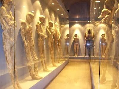 Foto de muchas momias de Guanajuato en vitrina