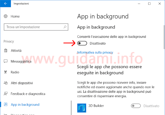 Windows 10 Impostazioni per disattivare app in background