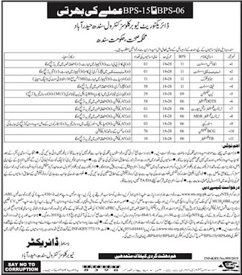 Latest Govt Jobs In Directorate Tuberculosis Control Sindh Health Department | Apply Now
