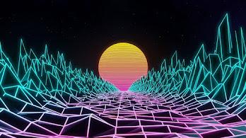 Synthwave, Retrowave, Digital Art, Abstract, Landscape, 4K, #4.1986