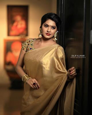 Actress Rachitha Dinesh Beautiful Golden Saree Stills