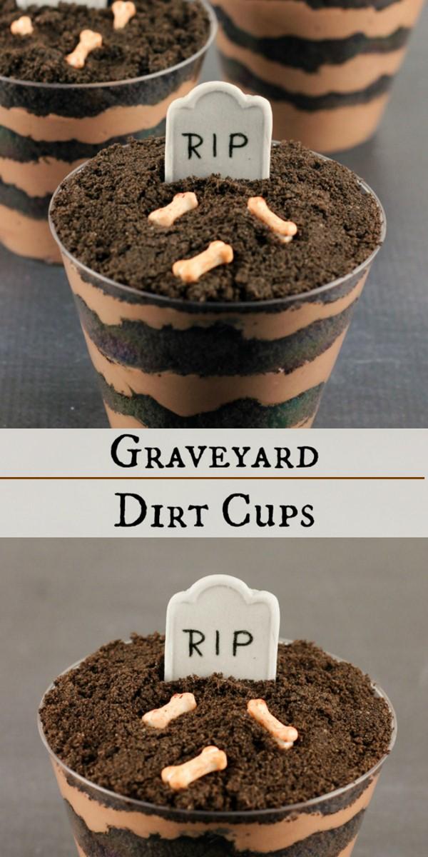 GRAVEYARD DIRT CAKE CUPS RECIPE #halloweenrecipes