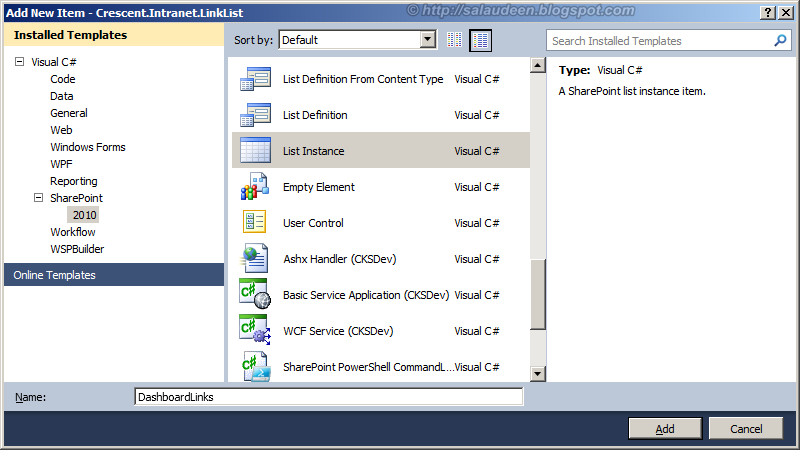 sharepoint 2010 create list instance visual studio