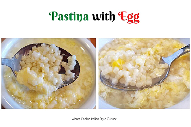 this is a bowl of pastina star pasta and egg and another using acini dipepe