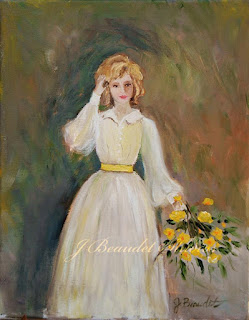 Lady standing with a Yellow bouquet by Jen Beaudet California artist
