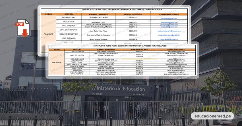 MINEDU: Directorio Regional que brinda orientación en el Proceso de Matrícula Escolar 2021 [.PDF]