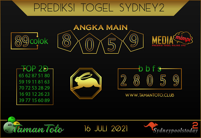 Prediksi Togel SYDNEY 2 TAMAN TOTO 16 JULI 2021