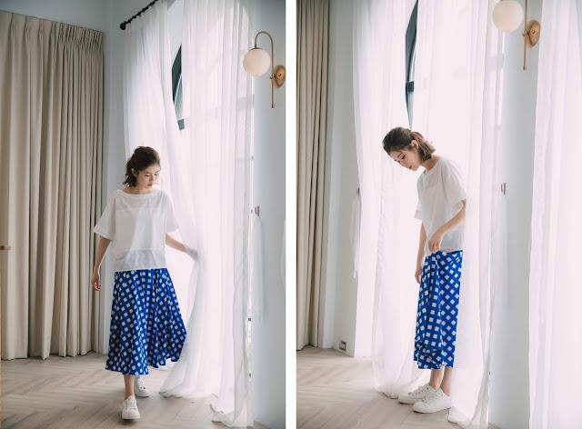 夏午安妮九分大圓裙