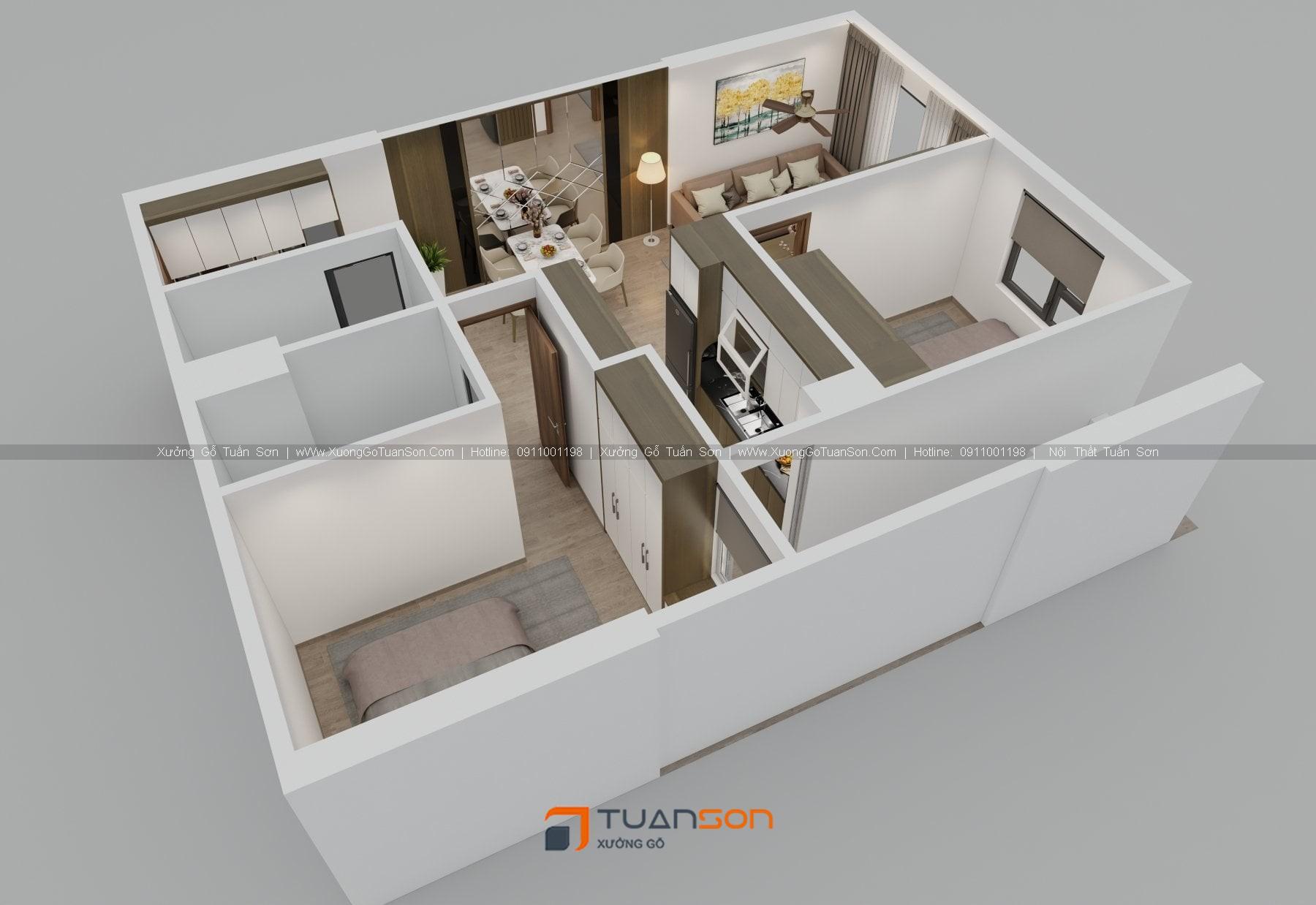 Thiết kế nội thất căn hộ 2 phòng ngủ (70m2) IEC Thanh Trì