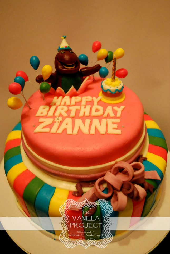 Fondant 2 Layer Cake Barney Theme Photo From The Vanilla Project