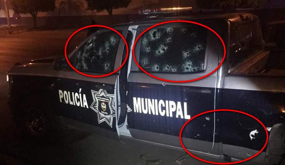 """Sicarios emboscan y llegan de plomo a tres policías en Celaya, Guanajuato; se atribuye ataque a """"El Marro"""""""