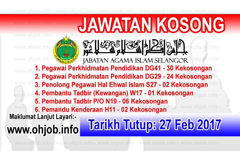 Jawatan Kerja Kosong JAIS - Jabatan Agama Islam Selangor logo www.ohjob.info februari 2017
