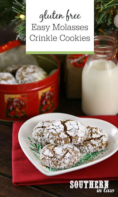 Easy Gluten Free Molasses Crinkle Cookies Recipe - gluten free, low fat, low sugar, healthier christmas recipes, gluten free christmas cookies