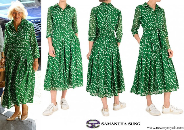 The Duchess wore a new ivy green floral print audrey drapery dota dress from Samantha Sung