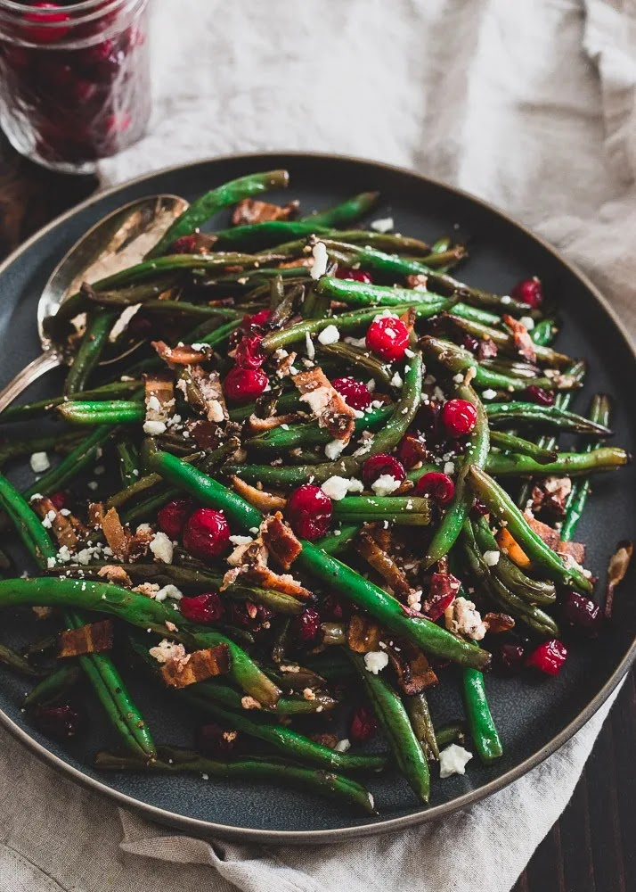 Green Beans with Cranberries, Bacon, and Goat Cheese | Running to the Kitchen