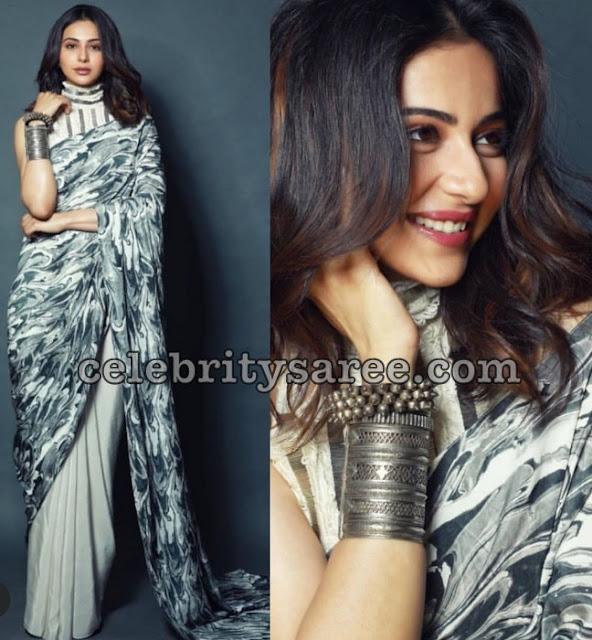Rakul Preet Half and Half Printed Saree