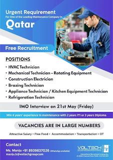 Maintenance company job in Qatar