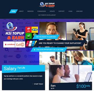 H2i Topupandearn Website Online