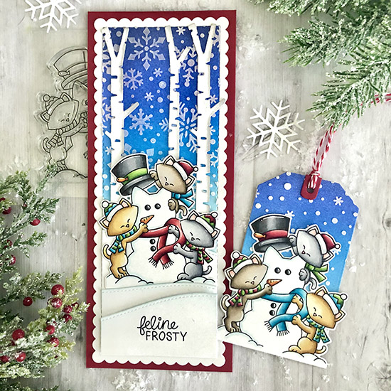 Deck the Halls with Inky Paws Week - Day 1 - Tammy Stark | Card and Tag using Newton's Snowman Stamp Set by Newton's Nook Designs