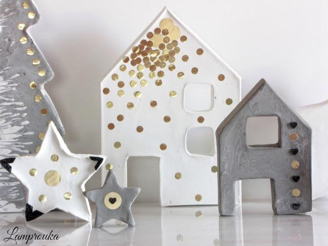 Χριστουγεννιάτικα στολίδια και κατασκευές από τσιμέντο.