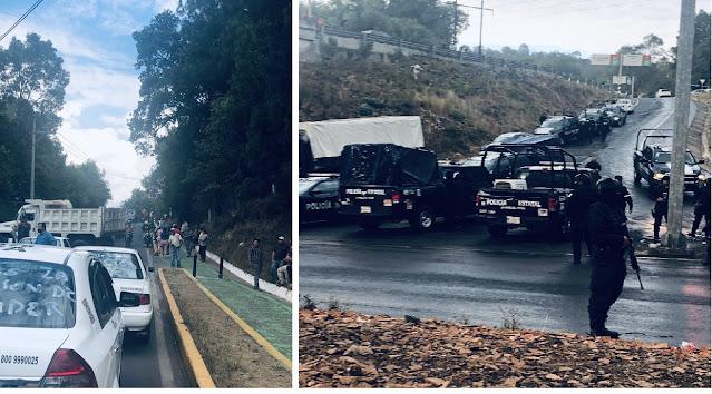 """Megaconvoy de Taxistas Armados bloquea a Estatales y matan a Comandante; tras detención del líder de """"La Familia Michoacana"""""""