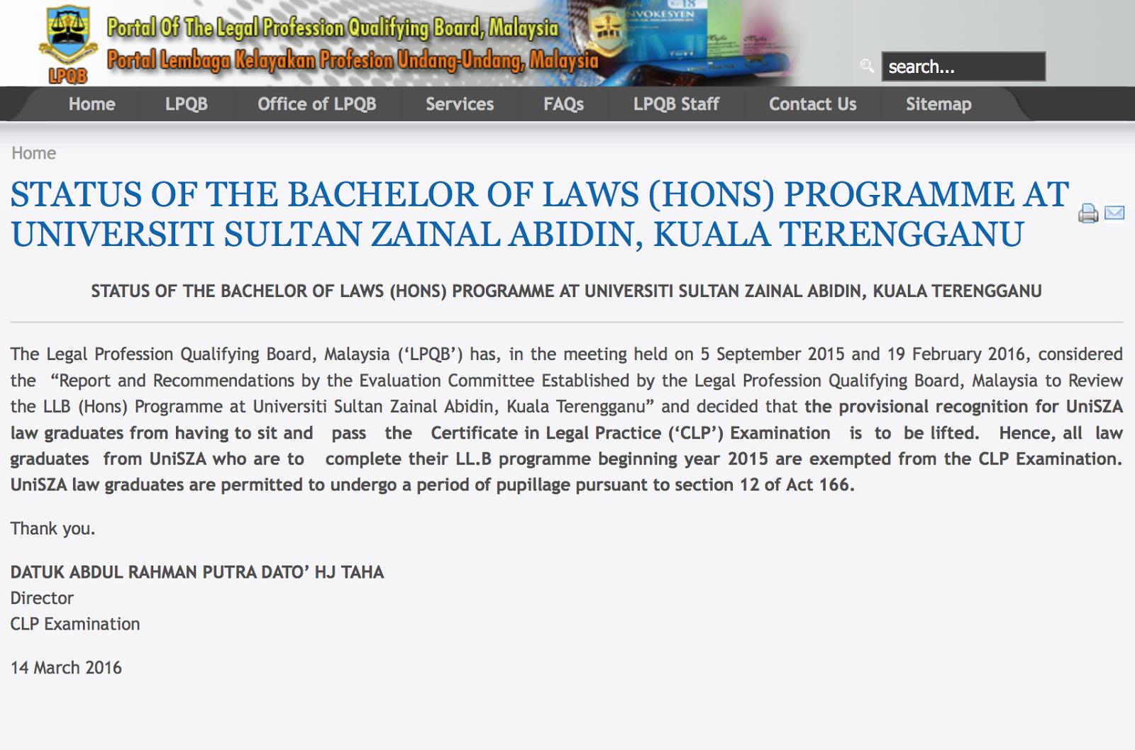 Bachelor Of Laws With Honours Ll B Hons Universiti Sultan Zainal Abidin Unisza Accreditation