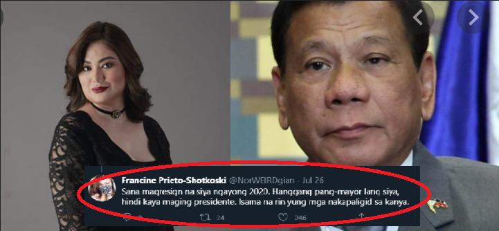 """Francine Prieto to Pres. Duterte: """"Sana magresign na siya ngayong 2020. Hanggang pang-mayor lang siya"""""""