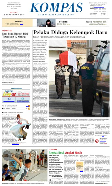 Kompas, Edisi, Minggu, 2 September 2012