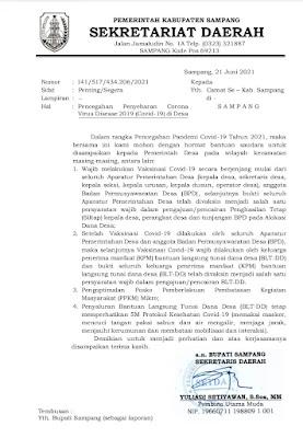 Surat Edaran Pemerintah Kabupaten Sampang tentang vaksinasi covid-19