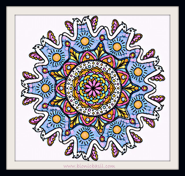 Mandalas on Monday ©BionicBasil® Colouring With Cats Mandala #102 coloured by Cathrine Garnell