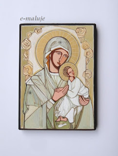 Jasna Różana Madonna, Matka Boża … Ikona Autorska Modlitwą Pisana