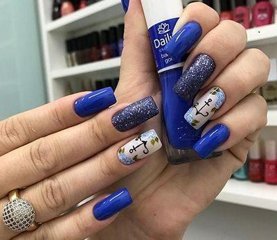 unhas decoradas azuis 8
