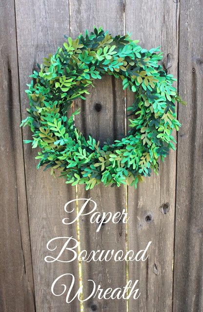 DIY Paper Boxwood Wreath Using Cardstock and a Silhouette Cameo