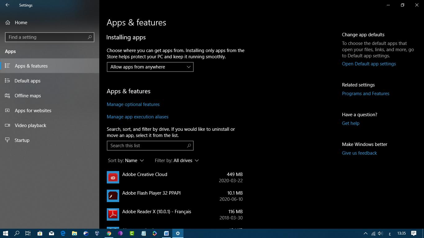 الغاء تثبيت البرامج windows 10