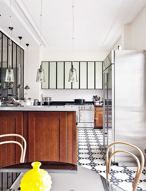 black and white floor in kitchen design