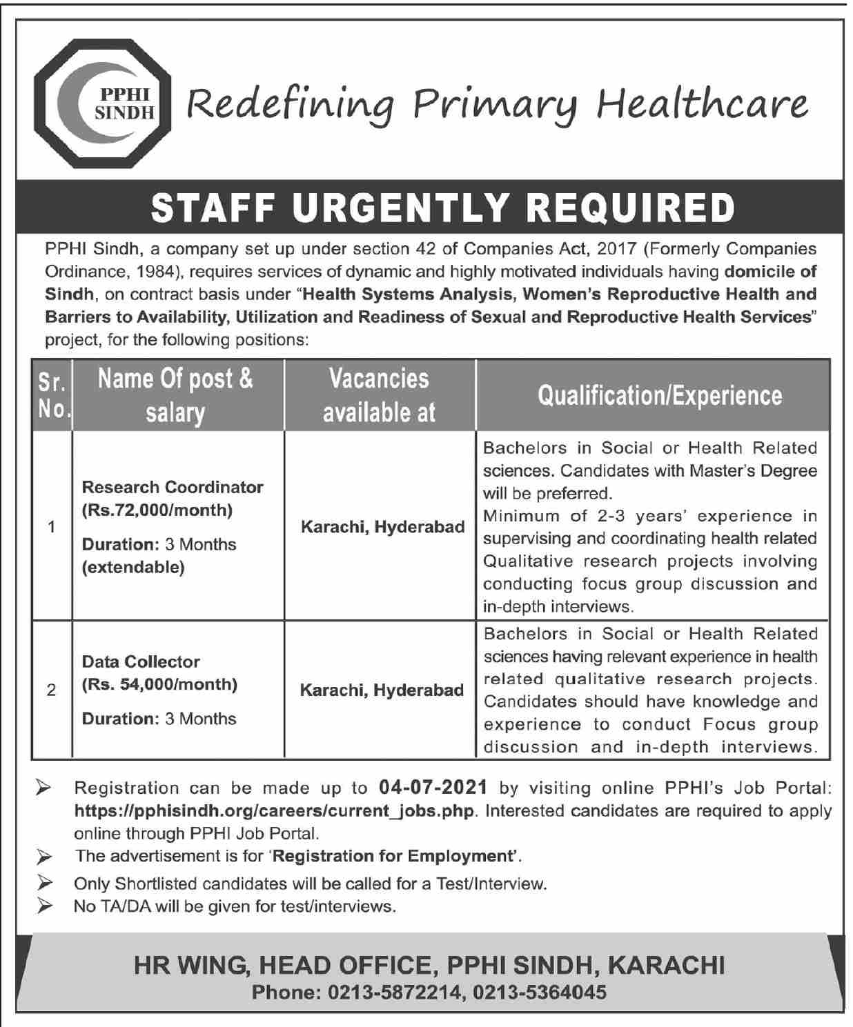 https://pphisindh.org Jobs 2021 - Redefining Primary Heathcare Jobs 2021 in Pakistan