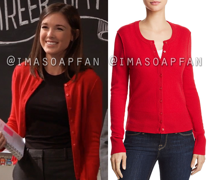 Willow Tait, Katelyn MacMullen, Red Cashmere Cardigan with Exposed Seams, General Hospital, GH